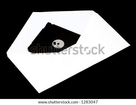floppy disk in envelope - stock photo