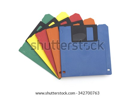 floppy disk on the white background - stock photo