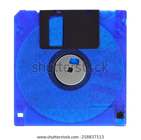 Floppy disks on a white background, close-up - stock photo