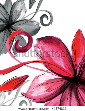 Floral abstract   background  for  your designs - stock photo