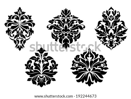 Floral and foliate damask design elements set isolated on white. Vector version also available in gallery - stock photo