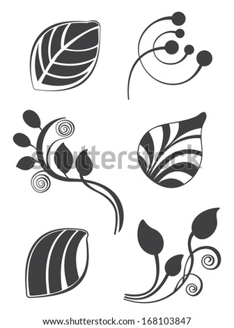 Floral and leaf elements in various styles for ornate and decoration - stock photo