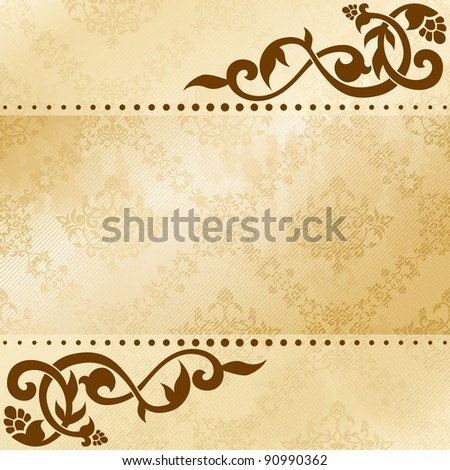 Floral arabesque background in sepia tones (jpg); EPS 10 version also available - stock photo