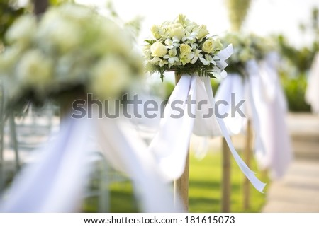 Floral arrangement at a wedding ceremony  - stock photo