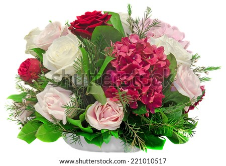Floral arrangement, bouquet, with white, pink, yellow roses and purple hortensia, hydrangea, close up, isolated, white background - stock photo