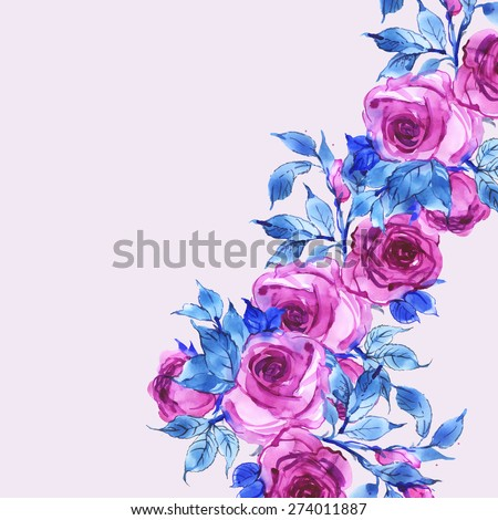 Floral background delicate mauve roses-3 - stock photo