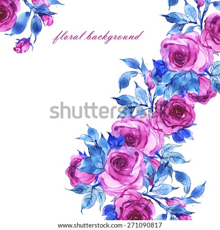 Floral background delicate pink roses-2 - stock photo