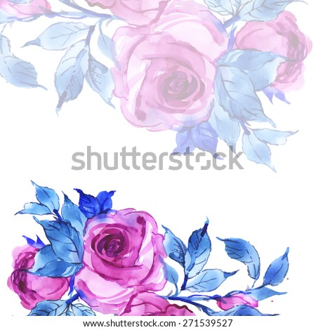 Floral background delicate pink roses-5 - stock photo