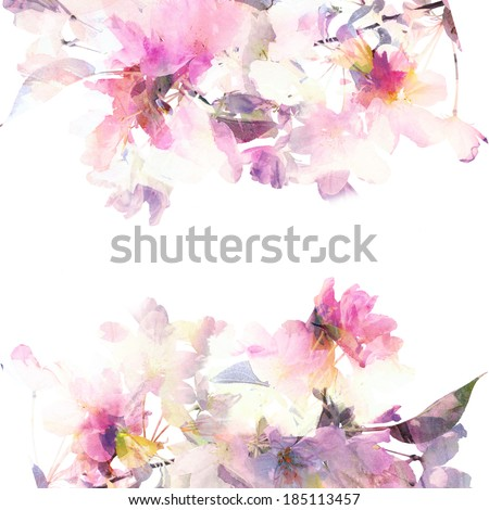 Floral background. Floral card. Watercolor floral bouquet. Birthday card. - stock photo