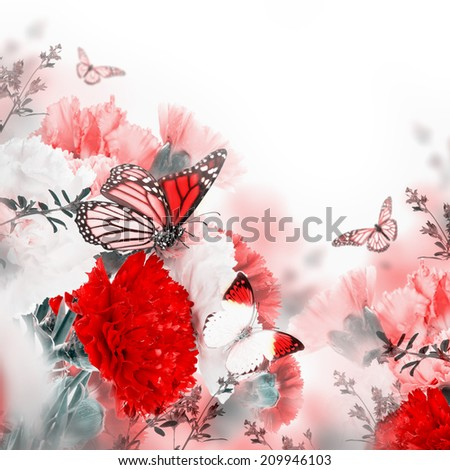 Floral background of roses and butterfly, wild flowers - stock photo