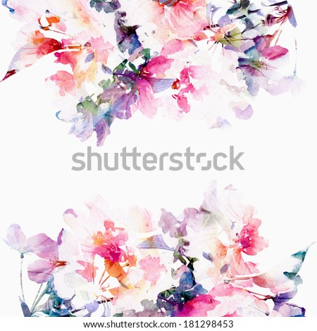 Floral background. Roses. Watercolor floral bouquet.  Birthday card. - stock photo