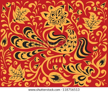 floral background with bird on the branch. Traditional Russian pattern - khokhloma - stock photo
