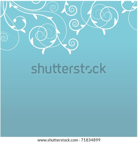 Floral blue background. Raster version. Vector version is in my gallery. - stock photo