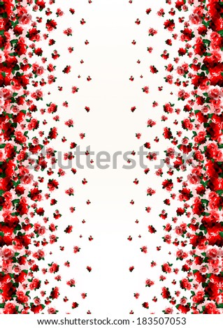 Floral border print with rose flowers - stock photo