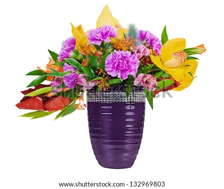 Floral bouquet of orchids, gladioluses and carnation arrangement centerpiece in blue vase isolated on white background - stock photo