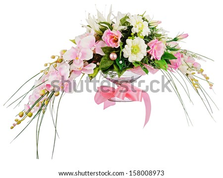Floral bouquet of roses and orchids arrangement centerpiece isolated on white background. Closeup. - stock photo