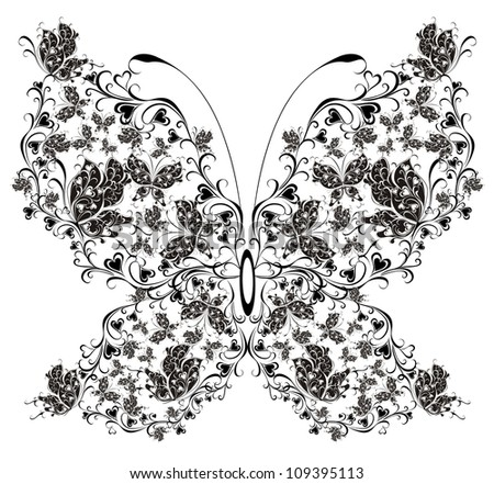 Floral butterfly - stock photo