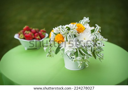 Floral Centerpiece at Wedding Reception. - stock photo