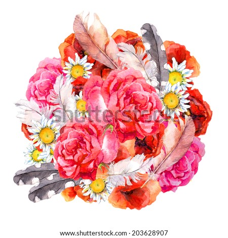 Floral circle picture with watercolor flowers (poppies, rose, camomile) and feathers. Aquarel  - stock photo