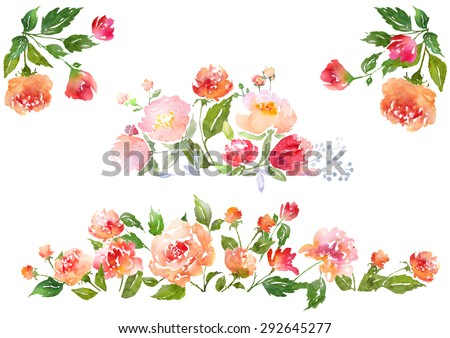 Floral clip art with watercolor peonies.  Illustration for greeting cards, invitations, and other printing projects. - stock photo