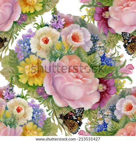 Floral colorful flowers seamless pattern on white background - stock photo