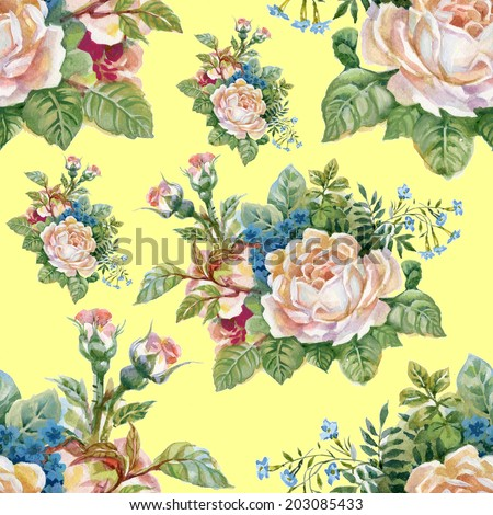 Floral colorful roses flowers pattern on yellow background - stock photo
