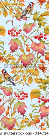 Floral composition of autumn branches with berries , leaves and birds. Seamless background pattern. Version 4 - stock photo