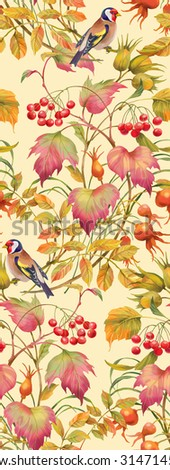 Floral composition of autumn branches with berries , leaves and birds. Seamless background pattern. Version 2 - stock photo