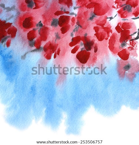 floral composition Sakura. watercolor branch of cherry blossoms. blossoming branch with red flowers. sketch watercolor illustration. painted red blooming flowers on blue sky background.  - stock photo