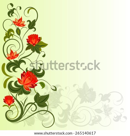 Floral corner design element with copy space. - stock photo