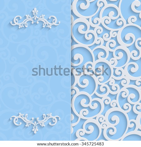 Floral Curl Blue Background with 3d Swirl Damask Pattern for Wedding or Invitation Card. White Vintage Design - stock photo