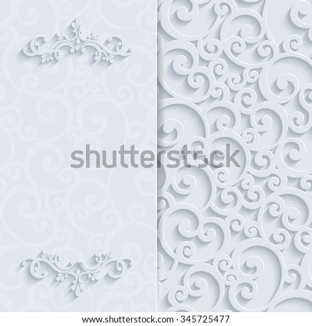 Floral Curl White Background with 3d Swirl Damask Pattern for Wedding or Invitation Card. White Vintage Design - stock photo