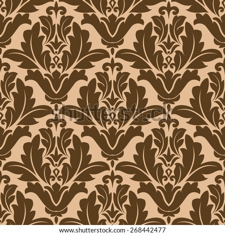 Floral damask style repeat pattern in a seamless background design in brown and beige in square format suitable to print fabric and wallpaper - stock photo