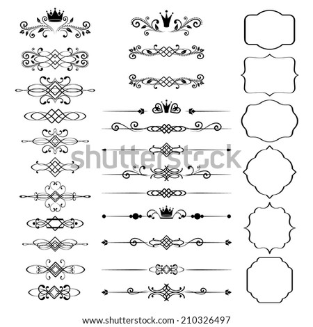 Floral design elements set, ornamental vintage frames with crowns in black color. Page decoration. Raster copy. Isolated on white background. Can use for birthday card, wedding invitations.  - stock photo