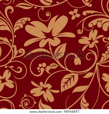 floral design in ocher and burgundy color scheme. raster - stock photo