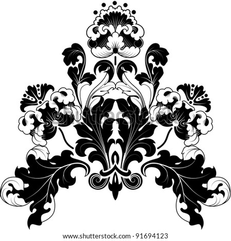 Floral designs in antique style. Black and white illustration. Can be repainted any color. - stock photo