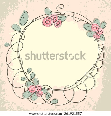 Floral doodle frame with space for text. Greeting card.  illustration. Raster version - stock photo