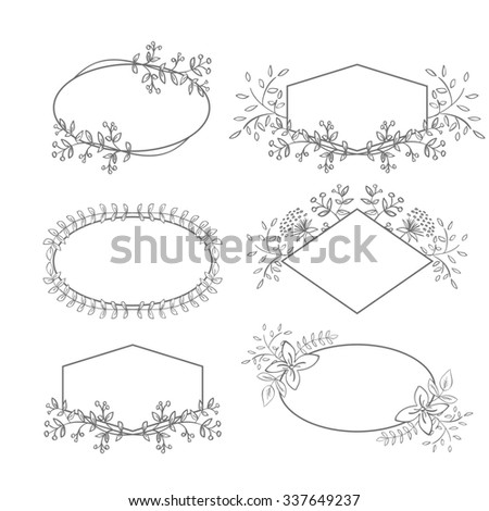 Floral Frame Collection. Set of doodle hand drawn labels with flowers for wedding invitations, save the date and birthday cards. Oval, diamond and polygon shaped elements - stock photo