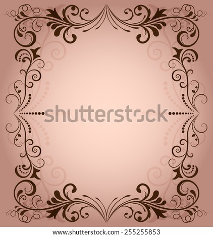 Floral frame for invitation with copy space. - stock photo