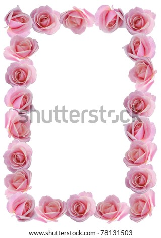 floral frame - pink roses - stock photo