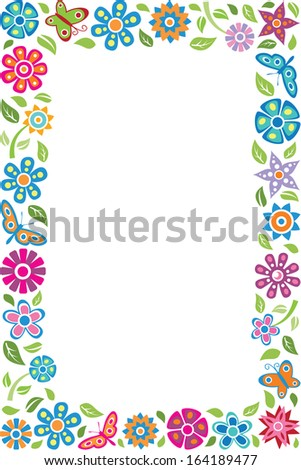 Floral frame with butterflies - stock photo