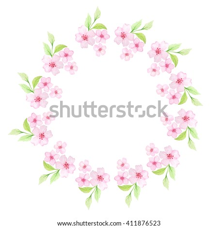 Floral frame with hand painted watercolor cherry flowers and leaves. Spring cherry blossoms wreath in delicate pink and green colors. Blank template perfect for wedding invitations and card making - stock photo