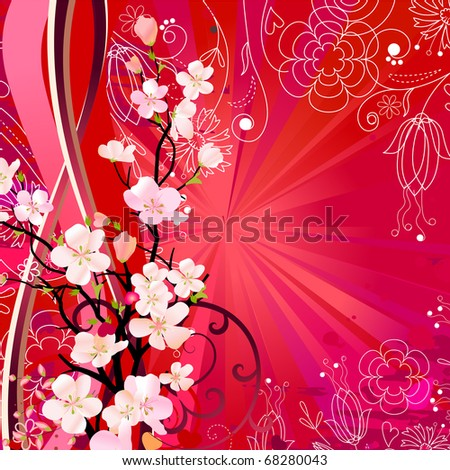 Floral greeting card with blossoming tree. Raster version. Vector version is in my gallery. - stock photo