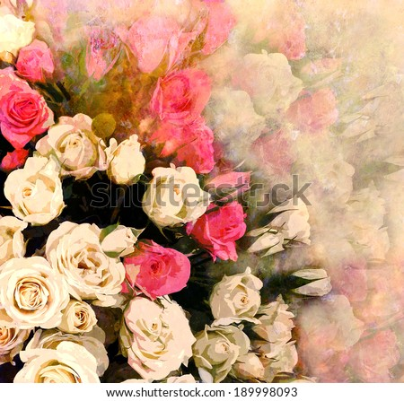 Floral greeting card with bouquet of roses on hazy background - stock photo