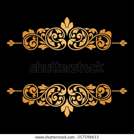 Floral greeting card with gold ornament. Raster version.    - stock photo