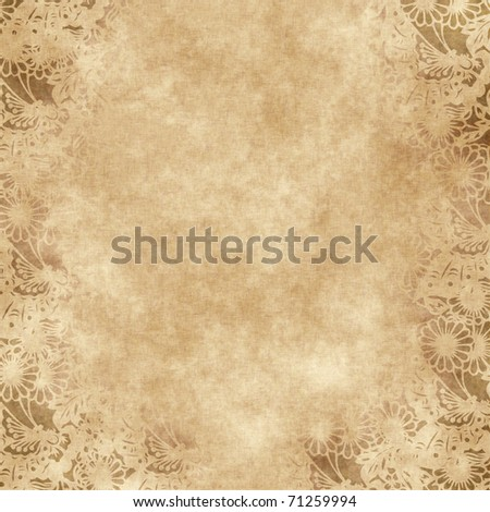 floral grunge frame on old parchment .old paper with floral pattern - stock photo