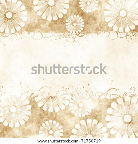 floral grunge retro wedding invitation or greeting card on old parchment .old paper with floral pattern - stock photo