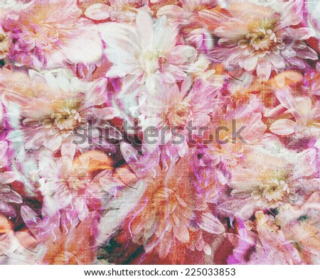 Floral grunge stained and striped colorful background  with stylized chrysanthemums                              - stock photo