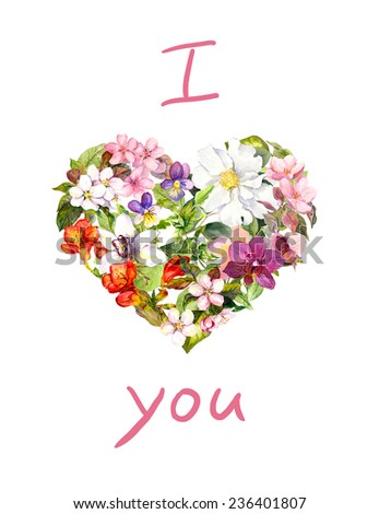 Floral heart with flowers and leaves. Watercolour Valentine postcard - stock photo