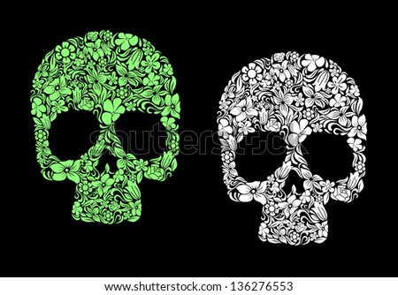 Floral human skull for death or halloween design. Vector version also available in gallery - stock photo